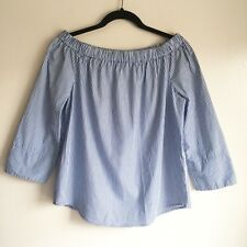 Zara Woman Off The Shoulder Pinstriped Top Blouse Size M Blue White Cotton