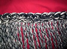 7ft FRINGE 9w Trim Fabric. BRAIDED TAPE BLACK & WHITE BULLION UPHOLS DRAPERY SEW