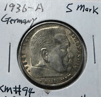 1936-A Germany 5 Mark Silver Coin