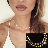 Coin Drop Choker Necklace Dangling Discs Gold Silver Simple Bohemian Bling