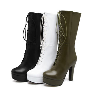 Womens Winter Shoes Synthetic Leather High Heel Zip Lace Up Mid Calf Boots New