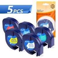 5x Schriftbandkassetten kompatibel zu Dymo 91221-91225 LetraTag LT-100T LT-100H