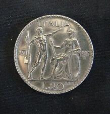 Zilveren munt Italië/Italia: 20 Lire 1928 in zeer fraai