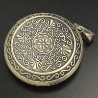 2X Antique Bronze Prayer box Tone Alloy Round Locket Pendants Charms 44*44*11mm