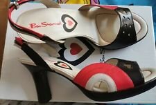 "BEN SHERMAN Iconic Colour Sandals Size 5 Navy Red Cream 3.5"" Heel Hearts."