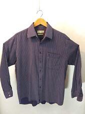 Pierre Balmain Paris Men's Cotton Striped Long Sleeve L/S Shirt Size 17 Purple