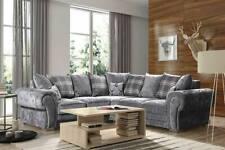 Sofa Verona - Large Corner Sofa - 3 Seater + 2 Seater - Silver Grey Fabric