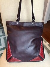 BOTTEGA VENETA Calf Leather Snakeskin RED Karung Intrecciato Slim TOTE Purse Bag