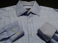 Bugatchi Uomo Mens Large Tall LT Long Sleeve Button-Front Blue Plaid Check Shirt
