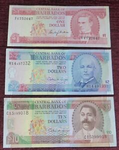 THREE BANKNOTES FROM BARBADOS / 1, 2 & 10 DOLLAR NOTES