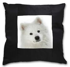 Samoyed Dog Black Border Satin Feel Cushion Cover With Pillow Inser, AD-SO73-CSB
