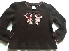 Gymboree ALPINE SWEETIE Shirt 4T Brown Pink Bunnies **3T** Vintage SNOW ANGELS
