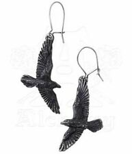 Alchemy Gothic Black Raven Bird Earrings Pair Pewter E333