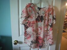 ALYX  SHORT SLEEVE SHEER PINK FLORAL 100% POLYESTER BLEND BLOUSE - SIZE XL - NWT