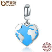 BAMOER 925 Sterling silver Charm Enamel travel World Dangle Fit bracelet Jewelry