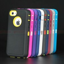 W/ Built in Screen Protector Heavy Duty Rugged Impact Case Cover for iPhone 5c