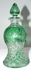 "Perfume, decanter, rock crystal, elegant cut glass, abp, green-clear, 8"", c1900"