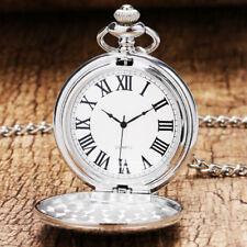 Classic Silver Smooth Case Men Women Quartz Pocket Watch Necklace Chain Round