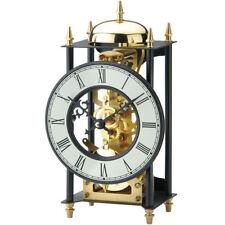 NEU AMS Designer Tischuhr Glockenschlag Skelett gold schwarz mechanisch Kaminuhr