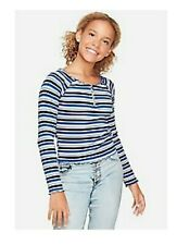 Justice Girls' Size 10 Zip Top Blue Striped Shirt -  Lettuce Edge Hems