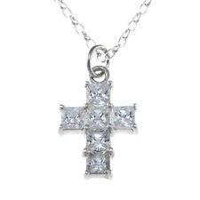 Plata Ley CZ Diamante Collar con cruz colgante 45.7cm Collar & Caja de regalo