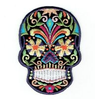 Black Sugar Skull/Blue Eyes/Day of the Dead - Iron on Applique/Embroidered Patch