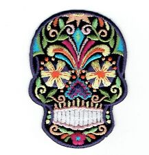 Black Sugar Skull Blue Eyes Day of the Dead (Iron On Embroidered Applique Patch)
