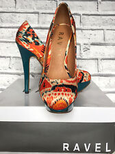 "Ladies Ravel Teal/Orange 5"" High Heel Platform Court Shoes Size 3 (eu 36)"