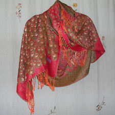 Reversible Red Orange & Black & Metallic Gold Scarf/Shawl/Wrap