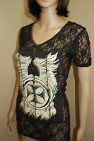 Los Angeles BUS STOP Lace w/Applique Rhinestone Short Sleeve Shirt Top~BLING