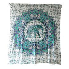 Colcha elefante en círculo de loto azul 235x200cm India manta algodón decoración
