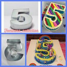 """GRANDE Numero 5 cinque TORTIERA TEGLIA STAMPO compleanno anniversario misura 14""""x10""""x3"""""""