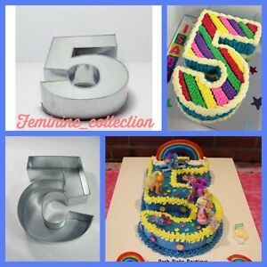 """Large Number 5 five Cake Tin pan Mould Birthday Anniversary Measure 14""""x10""""x3"""""""