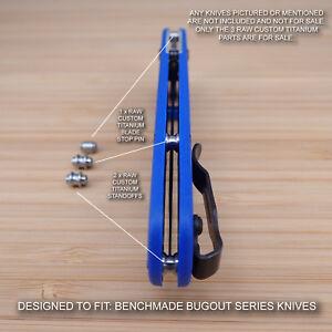 Benchmade 535 BUGOUT 3 Piece Custom RAW Titanium Standoffs & Pin Set - NO KNIFE