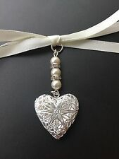 Vintage Filigree Heart Bridal Bouquet Photo Locket Memory Charm Swarovski Beads