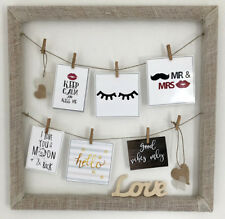 """Photo frame clip wood hand made for wall any size up to 41""""x41"""" multi picture"""