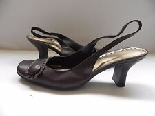 Gianni Bini~Viola~Brown w Bronze Leather Button Sling-Back Heels Shoes sz 6 M