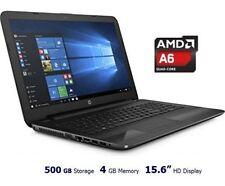 "NEW HP 15.6"" Laptop 4GB 500GB AMD Quad-Core-A6-2GHz Windows 10 DVDRW HDMI Black"