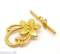 10Sets Gift Gold Plated Lily Flower Toggle Clasps 20x30mm