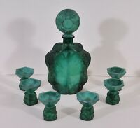 Art deco malachite glass liqueur set, Gustav Schlevogt, 1920's