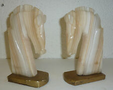 Pferde Buchstützen Mineral Aragonit aus Marokko Skulptur Pferd Pferdekopf