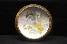 "Vintage Mercury Glass & Wood 6"" Pin Tray Bowl Dish w/Butterflies & Flowers Motif"