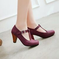 Retro Women Ankle T-Strap Heels Round Toe Pumps Shoes Casual Faux Leather Sandal