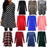 //Womens Red Green Royal Tartan Printed Long Sleeve Swing Dress Plus Size 8-26