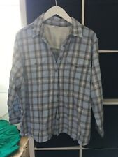 Marks and Spencer Size 22 Blue Check Long Sleeve Shirt Blouse (S13)