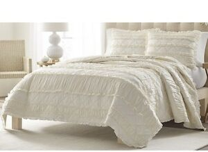 New Twin ivory Quilted 100% Cotton Collection Ruffle Quilt Stone Cottage Pillow