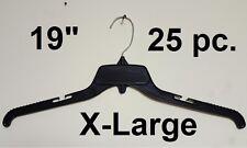 "25 Black Plastic Adult Clothe Shirt DRESS Hangers 19"" Display wide ECO Friendly"
