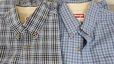 Wrangler Wrinkle Resistant Long Sleeved Plaid Shirts Lot of 2 Men's S