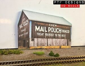 HO Scale MAIL POUCH TOBACCO BARN Flat / Front 3D Background, Farm Walthers