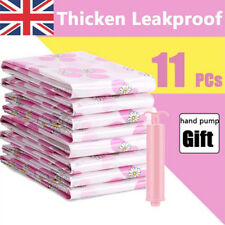 11pcs Large Thickened Vacuum Storage Bag with Hand Pump Move House Vacume Bag UK